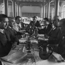 Ponència Redactora de l'Estatut de Catalunya. D'esquerra a dreta, Martí Esteve, Jaume Carner, Rafael Campalans, personatge no identificat, Josep M. Millàs Raurell, Pere Coromines i  Antoni Xirau i. Núria, juny de 1931.